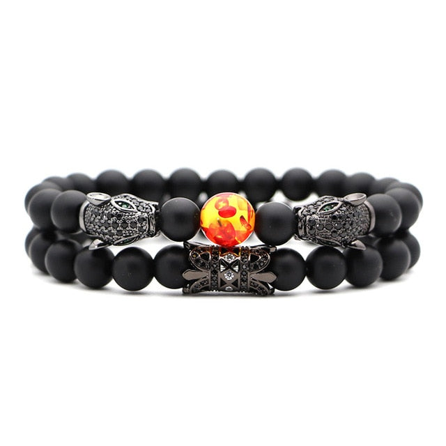 2Pcs/Set Natural Stone Bracelet Matte Black Jewelry