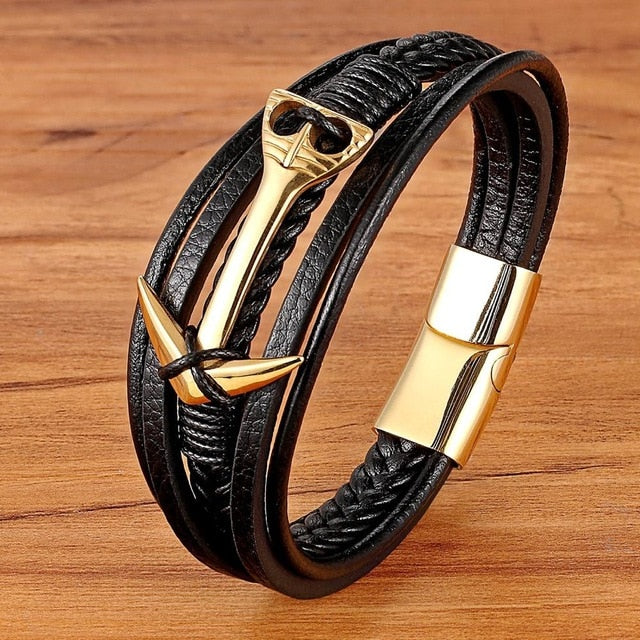 Mens Multi Layer Leather bracelet With Anchor