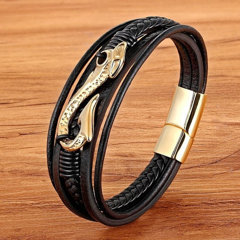 Image of Mens Multi Layer Leather bracelet With Anchor