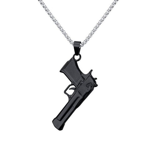Image of Mens M9 Gun Design Necklace Black Tone Stainless Steel Army Style Pendant