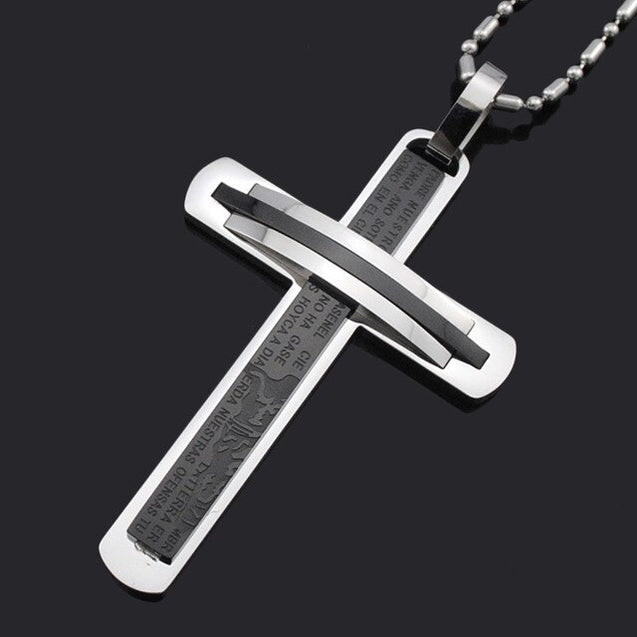 Mens Crucifix Cross Stainless Steel Pendant Jesus Scripture Necklace