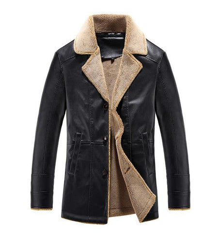 Image of Men's Fur Collar Leather Jacket Slim Fit