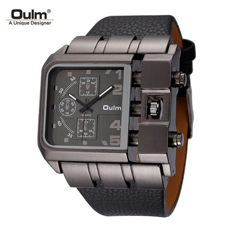 Original Big Dial Unique Design Square Male Quartz Wristwatch