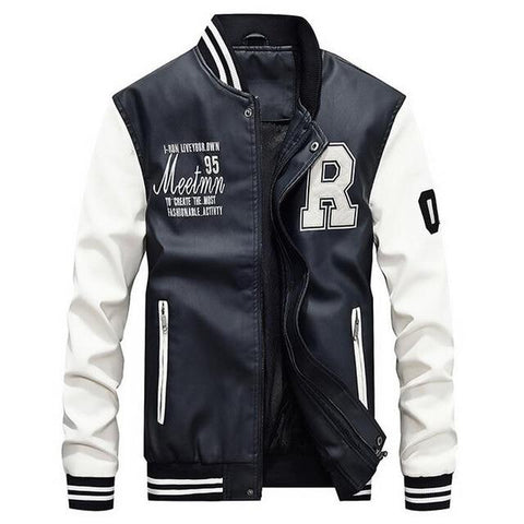 Image of Men's Pu Leather Baseball Jacket Slim Fit