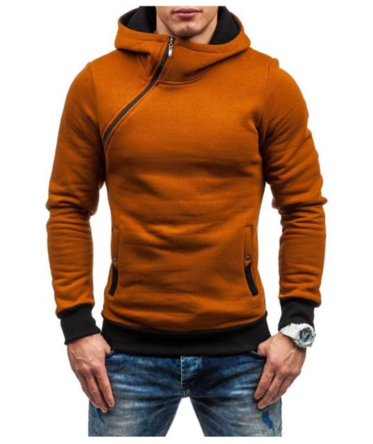 Oblique Zipper Hoodies Men Fashion