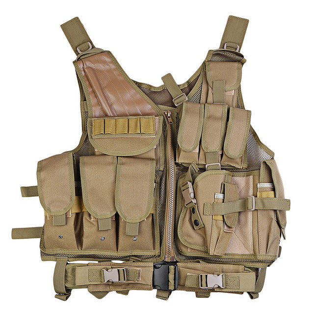 Military Tactical Vest Paintball Camouflage Molle Hunting Vest With Holster