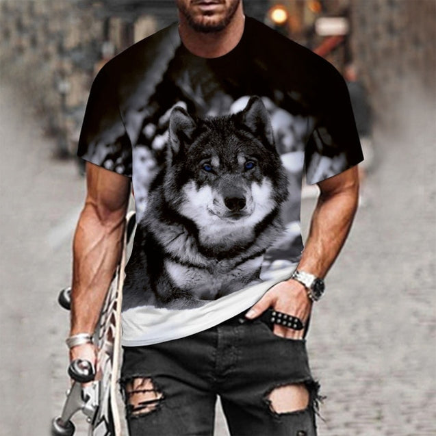 Men Hip Hop Wolf 3D Printed T-Shirt