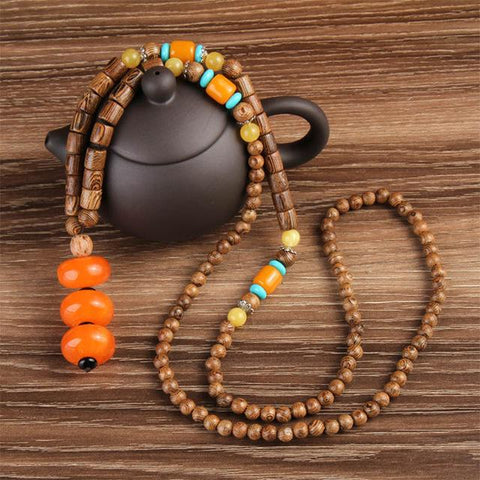 Buddhist Mala Wood Beads Necklaces
