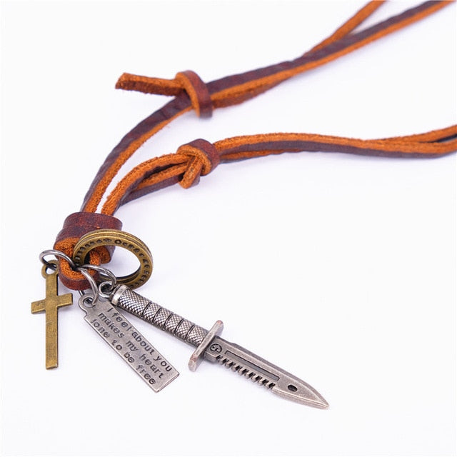 Adjustable Genuine Leather Men Necklaces With Pendants