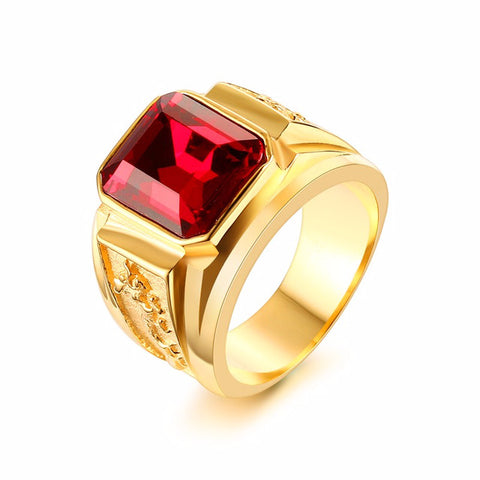 Image of Men's Signet Ring With Red Stone