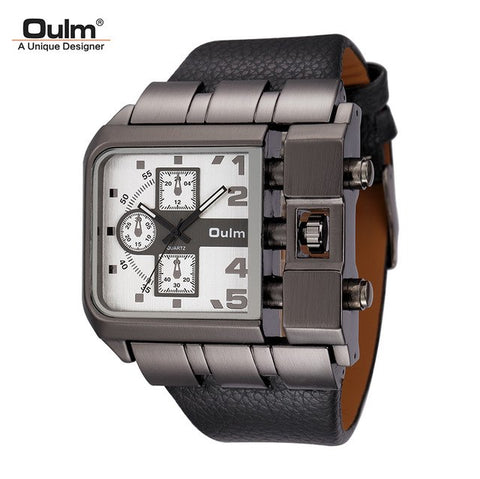Image of Original Big Dial Unique Design Square Male Quartz Wristwatch