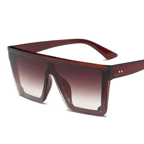 Image of Oversize Square Frame Flat Top Sunglasses