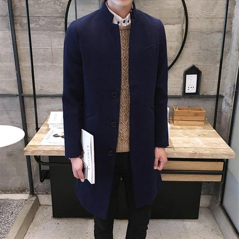Image of Men's Stand Collar Long Coat