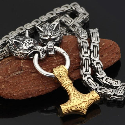Image of Wolf Heads & Anchor Viking Necklace