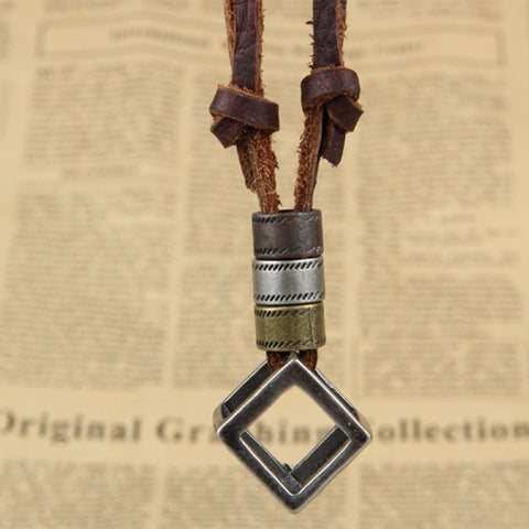 Image of Adjustable Genuine Leather Men Necklaces With Pendants