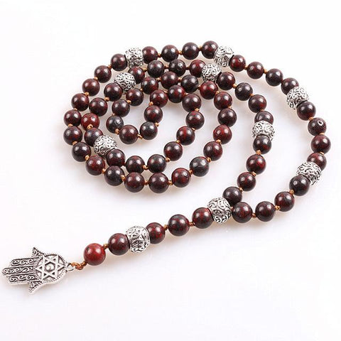 Hamsa Hand Long Lariat necklace With Natural stone beads