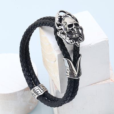 Image of Intense Skull Charm Leather Bracelet