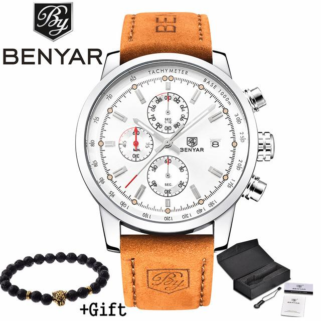 Stylish  Men's Quartz Watch With Brown Leather Band