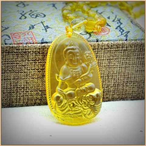Image of Yellow Citrine Buddha Pendant Necklace