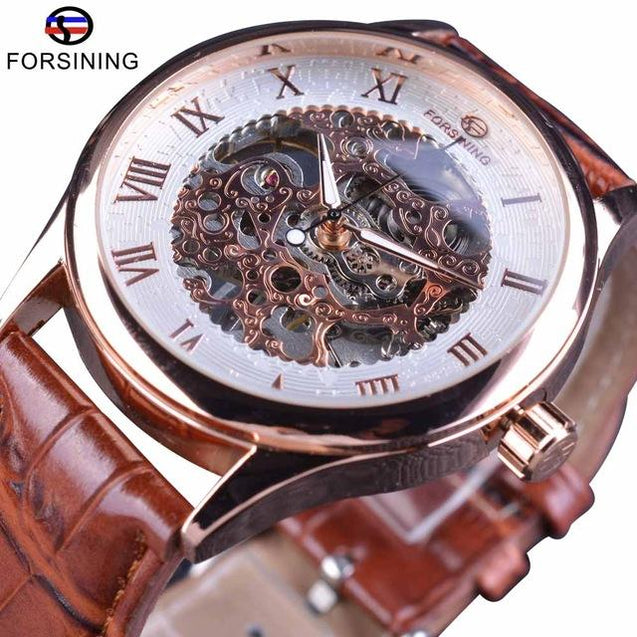 Mechanical Wristwatches With Leather Strap