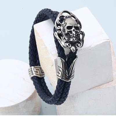 Intense Skull Charm Leather Bracelet