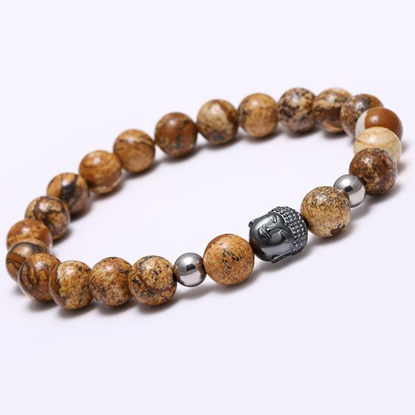 Buddha Bracelets With Round Natural Stone Beads [ 12 Variation ]