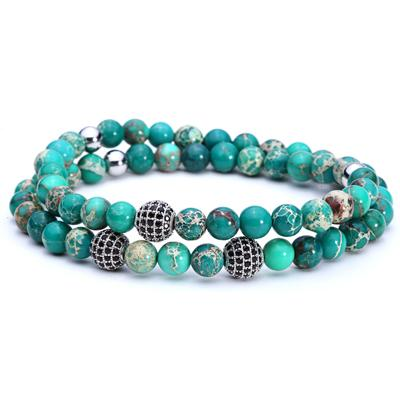 Mens Stone Beaded Bracelets & Disco Ball Charm [ 2 PCS/SET ]