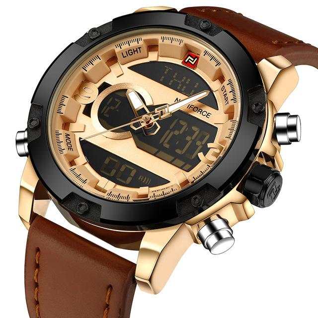 Digital Quartz Leather Wristwatches