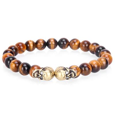 Tigers Eye Stone Skull Bracelet [3 Colors]