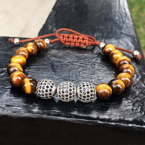 Disco ball & Tiger's Eye Stones Bracelet