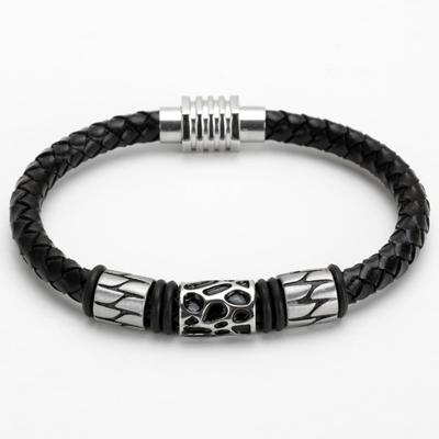 Black Leather Bracelet With Charm