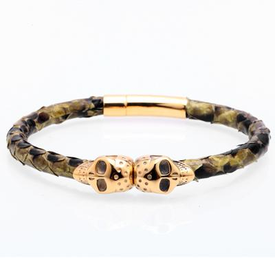 Image of Snakeskin Skull Bangle Bracelet