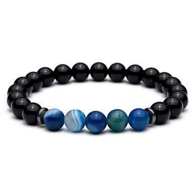Image of natural lava stone stretch men's bracelets