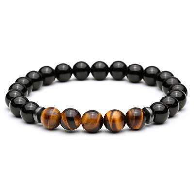 Image of natural lava stone stretch men's bracelets [5 Variations]