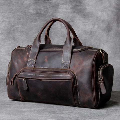 45cm Genuine Leather Men's Travel Duffle bag
