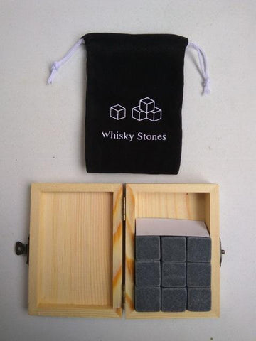Image of Whiskey Stones With Wooden Box+Velvet Bag [ 9 PCS/SET ]