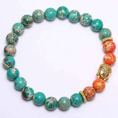 Genuine Emperor Stone Beaded Buddha head Bracelet