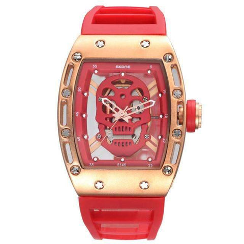 Image of red skull watch