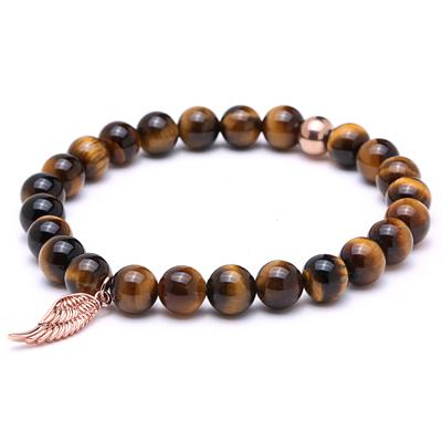 Image of Mens Wing Bracelet With Tiger Eye stone Beads