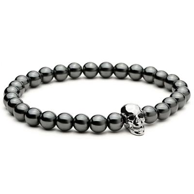 Image of Skull Bracelet With Black Hematite Stone Beads