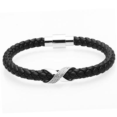 Image of Leather Bracelet With Iced out Charm