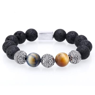 Mens Beaded Bracelet With Tiger Eye And Lava Beads Mr Peachy
