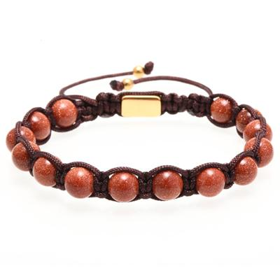 Mens Beaded Bracelet With Lace-Up Clasp