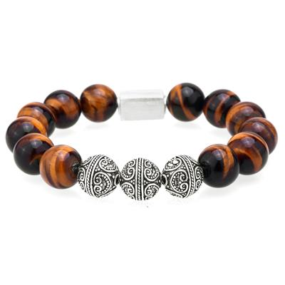 Mens Beaded Bracelet With Tiger Eye and Lava Beads