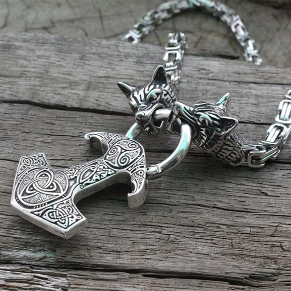 Raven Mjolnir Viking Wolf Head and Anchor Necklace Norse jewelry