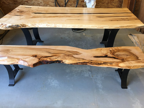 Live edge maple dining table with matching bench