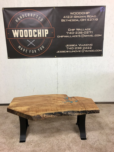 Live edge maple bench/ coffee table