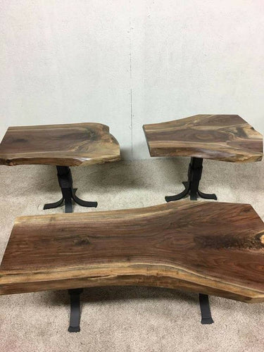 Live edge walnut coffee and end tables
