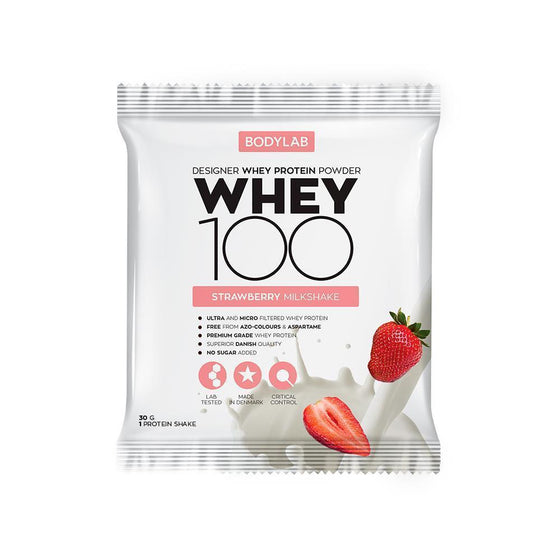 Bodylab Whey Concentrate Strawberry Bodylab Whey 100 paciņā (30 g)