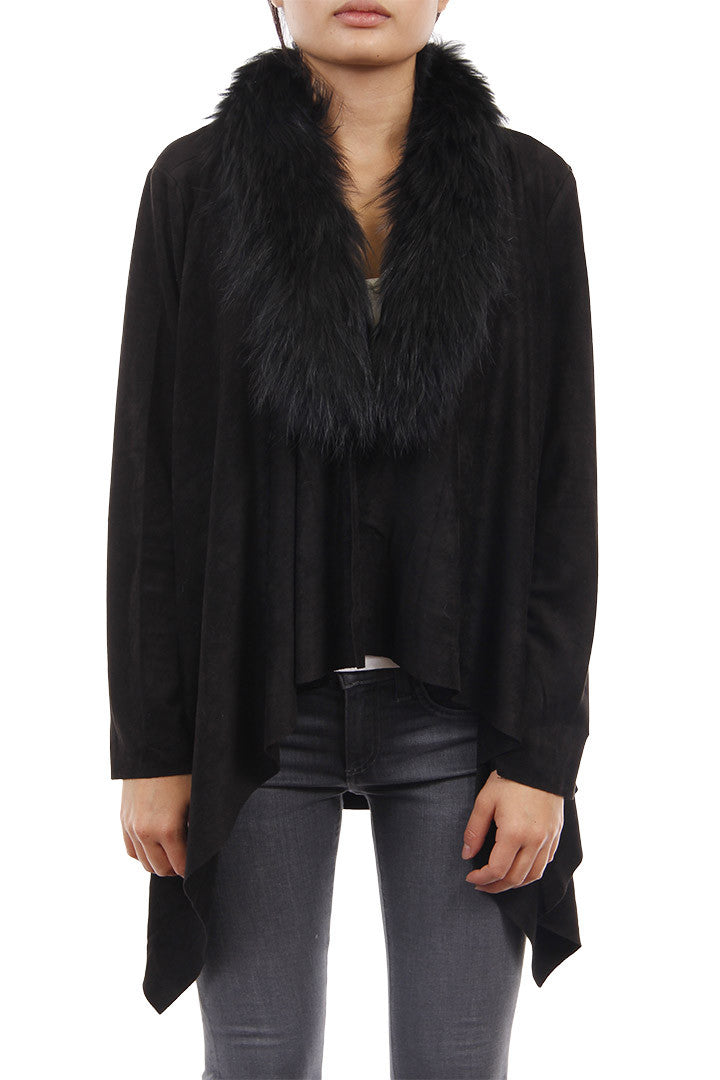 Raccoon Fur Cardigan, Faux Suede, Black, Dolce Cabo